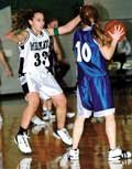 De Soto's Kira Gonzalez applies defensive pressure during Friday's win over the visiting Perry Lecompton Kaws.
