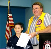 Alex Sexton receives recognition from the Lansing Lion's Club