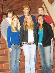 Back row, left to right, Andrew Phillips, Chris Nelson, Chris Bristow; Front row, left to right, Jessica Haver, Emily Goodlin, Kendra Sickinger