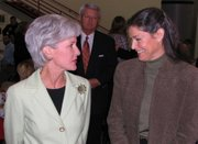 Governor Kathleen Sebelius chats with Lansing Educational Foundation member Nora Hoagland at the breakfast Friday morning.