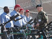 Lt. Col. Jacobs thanks inmates who worked on the bikes.