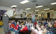 Kansas City T-Bones manager Al Gallagher talked to Lansing Intermediate School students about the importance of reading.