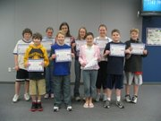 Back row from left to right, sixth graders Colby Gwartney, Sean Tweet, Katlyn Osborn and Brady Cummins. Front row from left to right,  Kaleb McQuillan, Alexa Palmgren, Jennifer Snyder, Emma Moreland, Elizabeth Lewis and Brandon Wilson.