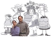 "Cathy Corley, left, and Dick Cameron are the brains behind the ""Down 'n Out"" cartoons that appear in The Current."