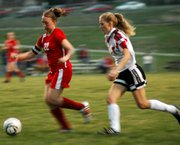 Senior Jessica Hauver blows past an Ottawa defender during the Lions' 2-0 victory. Hauver scored the game-winning goal.