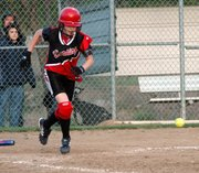 Freshman Sara Logan laid down a bunt for a single late in the second game against Basehor.