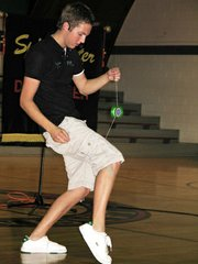 Yo-yo champion Brent Dellinger shows off his tricks at Lansing Activity Center.