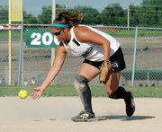 Jessica Kane scoops up a ground ball before firing to first base for an out.