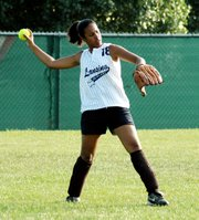 Nicole Holland fires a throw back to the infield during the Outlaws' game against KC Impact.