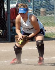 Lansing Outlaws third baseman Maggie Aus fields a ground ball against the Manitoba Magic at the AFA National Tournament.