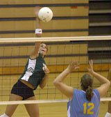 Lauren Hampton goes for the kill Tuesday in Paola. The De Soto volleyball team is off to a fast start.