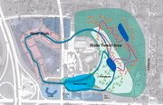 Overlay of proposed site illustrating location of major components of Schlitterbahn Vacation Village. At bottom left is the Interstate 435 and Interstate 70 interchange.