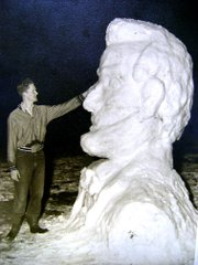 History Corner columnist Gene Young, shown in this 1956 photo, sculpted Abraham Lincoln out of a 17-inch snowfall in Lansing. To Young's recollection, the February snowfall was the largest in 50 years in Lansing.