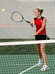 Senior Bethanie Hill teamed with senior Lindsay Parks to play No. 1 doubles on Tuesday at the Mill Valley Triangular.