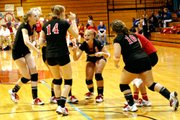 The Lansing High volleyball team celebrates after Dana Sander fired an ace against Wyandotte.