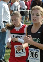 Ashley Mayes competes at the state cross country meet.