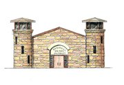 An architect's rendering shows the front of the proposed Lansing Regional Prisons Museum.