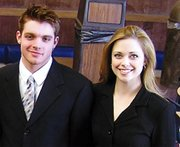 Lansing High School graduates Brett Culbert, left, and Leslie Goodlin won the duo interpretation competition at the Cameron Christmas Forensics tournament. Now the Kansas City Kansas Community College students hope to qualify for the American Forensics Association's National Individual Events Tournament.