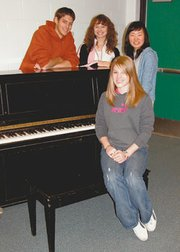 Four De Soto High School piano students, clockwise from left -- Kyle Groen, Alex Prosser, Ji Eun Kim and Leslie Hodges -- will travel to state competition in Wichita this weekend.
