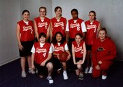 The Lansing Red Hots placed second in the Leavenworth/Lansing Basketball Tournament on Sunday at Lansing Activities Center. Team members were, from left, front row: Megan Dike, Sarah Hannah, Cheyenne English, coach Christine O'Donnell. Back row: Ali Scheurer, Brooke White, Tawnee Hall, Jala Jackson, Vanessa Smith.