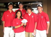 Lansing High golfers Maria Jackson, Andrew Cameron, Max Kozak, Ted Haugland and Stefan Froelich teamed to win the Sunflower Hills High School Invitational on Saturday at Sunflower Hills Golf Course.