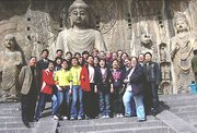 Lansing High School students and teachers and some of their hosts from Kaifeng No. 5 Middle School visit the Longmen Grottoes in Luoyang, China, during the LHS group's trip to China last month.