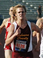 Alan Kroll, a 2004 Lansing High grad and current sophomore at Johnson County Community College, sprints to the finish in the men's 800-meter run Thursday at the Kansas Relays.