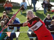 Lansing High senior Amanda Radovich competes in the javelin Friday morning at the Kansas Relays.