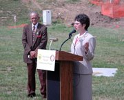 With Mayor Kenneth Bernard looking on at left, Kansas Secretary of Transportation Deb Miller talks about the Main Street System Enhancement project. Miller was in town Thursday, June 1, to participate in a ceremonial groundbreaking for the project.