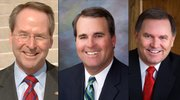 Republican gubernatorial front-runners, from left,  Sen. Jim Barnett, former House Speaker Robin Jennison and Ken Canfield, appeared on a televised forum Sunday night from Topeka.
