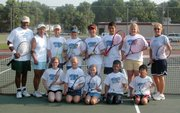 The first session of Match Point Tennis Camp, above, included, from left, front row: Alanda Kohl, Kelly Andrews, Cheyenne Ellis, Mark Hernandez, Anil Patel. Back row: Coach Manuel Hernandez, coach Rachel Elkins, Jacob Tauke, Michael Quinn, David Freeman, Phillip Hernandez, Taylor Wiseman and coach Julie Harrington.
