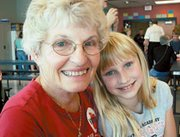 """Lynda Anderson and her granddaughter Bretlyn Opfer of De Soto enjoyed a special """"Grandparents Day"""" together at Mize Elementary School on Monday."""