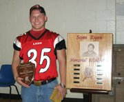 Daniel Eyerly, Lansing High senior football player, is the inaugural winner of the Sean Ryan Memorial Scholarship.