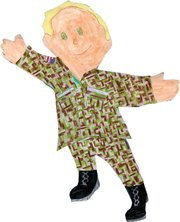 Flat Stanley, in camouflage