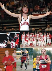 2006 was a big year for Lansing sports. Six stories stood out from the rest, and they are photographed clockwise from the top. Kyle Buehler won an individual wrestling state championship. The LHS baseball team advanced to the Class 5A state tournament. Lauren Jaqua and two other freshmen qualified for the state cross country meet. Amanda Darrow and the LHS softball team qualified for the state tournament. Rod Briggs was hired as Lansing's new boys basketball coach. Tim Torchio and the Lansing High football advanced to state for the third straight year and the first time in Class 5A.