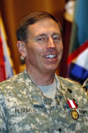 Lt. Gen. David Petraeus joins in singing the Army Theme Song during his farewell ceremony at Fort Leavenworth. Petraeus used the occasion to heap praise on the military and civilian staff at the post, plus the Leavenworth and Lansing and area communities for their support of Fort Leavenworth.