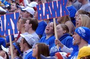 Lansing High graduates Jessica Kane, Maggie Aus, Carolyn McKune and David Kern show their Jayhawk spirit during ESPN's College GameDay program on Saturday.