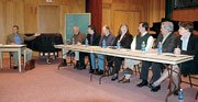 The first of the Baldwin City Chamber of Commerce candidate forums was Monday at Baker University. Ivan Huntoon, left, vice president and forum moderator, introduced the seven Baldwin City Council candidates. The candidates answered questions from Huntoon and also had opening and closing remarks.