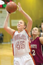 SMNW senior Becca Roberts was one of three Lady Cougars named to the all-Sunflower League squad this season.