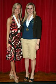 Kansas Junior Miss 2006 Kendra Brown  poses with Elizabeth Cristiano, a Lansing High School senior, at the 2007 pageant in Belleville. Cristiano was named first runner-up.