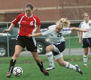 Christine Cordes, seen here playing against Mill Valley, scored five goals Thursday as Lansing defeated Ottawa, 10-0.