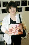 Baldwin City resident Mary Lou Klein displays a Wizard of Oz purse