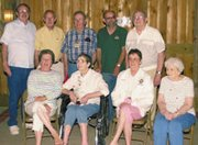 The eight surviving children of Herb and Agnes Linden pose for a portrait Sunday at a family reunion. They are back row, from left -- Jack, Bob, Gene, Delbert, Chuck; front row -- Pat Young, Jodey Schmidt and Zola Stephan.