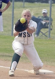 Racheal Bowen, a 2003 Lansing High graduate, makes a play at first base during a game this season. Bowen recently completed her softball career at Missouri Southern State University. She was a two-time honorable mention All-MIAA selection at first base and a three-time Commissioner's Academic Honor Roll selection.