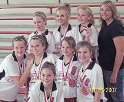 The Lansing Middle School seventh-grade volleyball A team ended its season with a championship at the Tonganoxie Tournament. The Lions posted a 12-1 record this year.