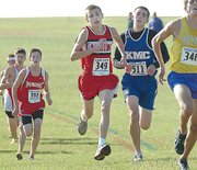 Lansing High sophomore Brandon Craig charges down the home stretch at the Class 5A state cross country meet at Rim Rock Farm in Lawrence. Craig placed 15th overall.