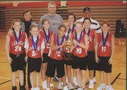 The Lansing HoopStars fifth-grade girls basketball team opened its season with a first-place finish at the Bonner Springs Swoosh Tournament. The HoopStars posted a 4-0 record on their way to the title. Team members are Alexsis Klemme-Owens, Emily Babcock, Jordan Counts, Kaitlyn Wood, Madison Ernzen, Maggie Taylor, McKenzie Hersh, Shelby Ogden, Stephanie Henry and Hailey Budke. Coaches are Erica Vicente, David Babcock and Jeff Ogden.