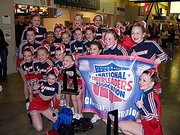 The Lawrence G-Force Jets All-Star Cheerleading Squad recently notched high finishes at the National Cheerleading Association St. Louis Classic. The senior team placed first in the competition and the junior squad placed second. The combined squads are pictured here, including Lansing High student Bobbi Walden (second row, far right).