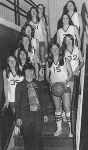 The 1973-1974 Lansing High state team, left side, top to bottom: Vicky Barnes, Toni Mills, Janet Wayman, Kathy Fleenor, Linda Crouse, Cindy Mills, coach Sharon McNitt; right row: Debbie New, Betty Powell, Chris Lober and Jeanne Heintzlman. Brenda McQuillan is not pictured.