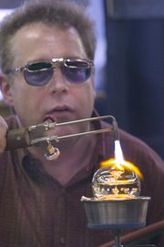 Marble artist Mark Matthews demonstrated his craft Friday at Marble Crazy in Bonner Springs.